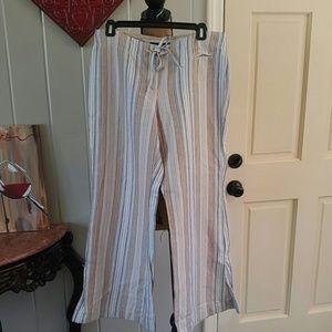 Express Linen/Cotton drawstring wide leg pants